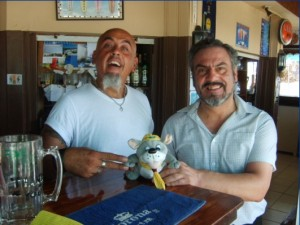 Tony and Peter at the Golden Beach Bar and Restaurant - Cyprus