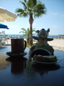Coffee and cake time on the beach - Cyprus
