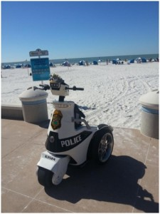 Florida beach and Police Segway