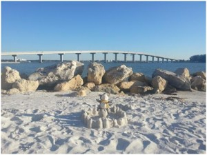 The looooonnngggg bridge and my sandcastle